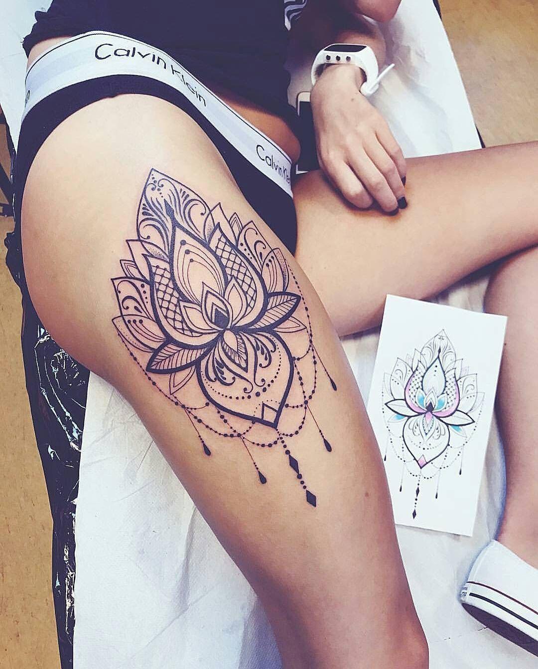 Leg Mandala Tattoo #tattoo #mandala #black #pretty