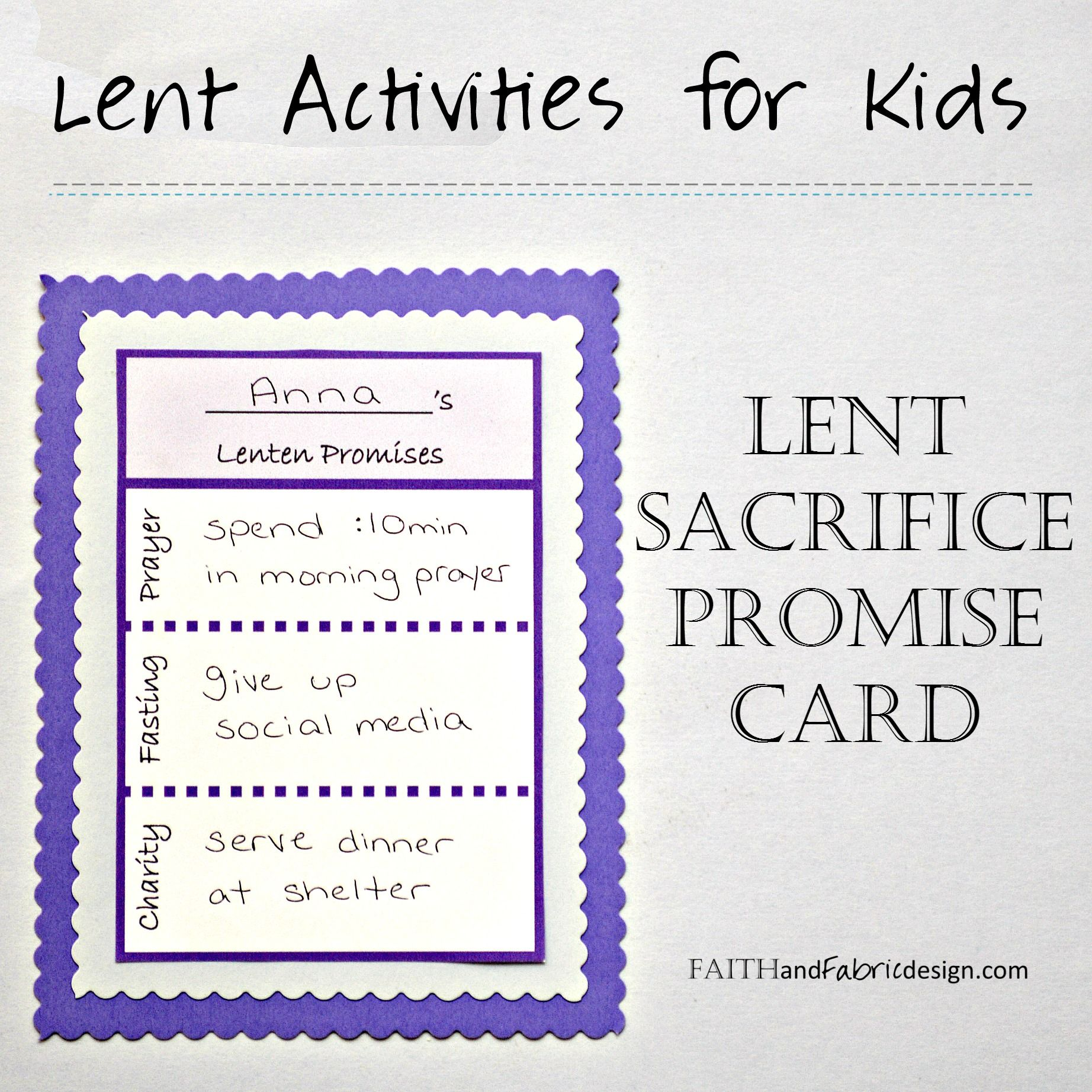 Write down your Lent sacrifice ideas on this Lent promise ...