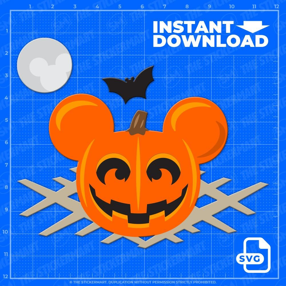 Mickey Pumpkin Halloween Scene SVG Instant Download in