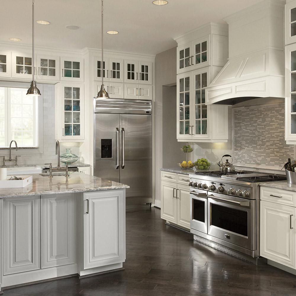 American Woodmark Custom Kitchen Cabinets Shown In Classic Style Hdinstbl The Home Depot Custom Kitchen Cabinets Classic Kitchens Kitchen Cabinet Sizes