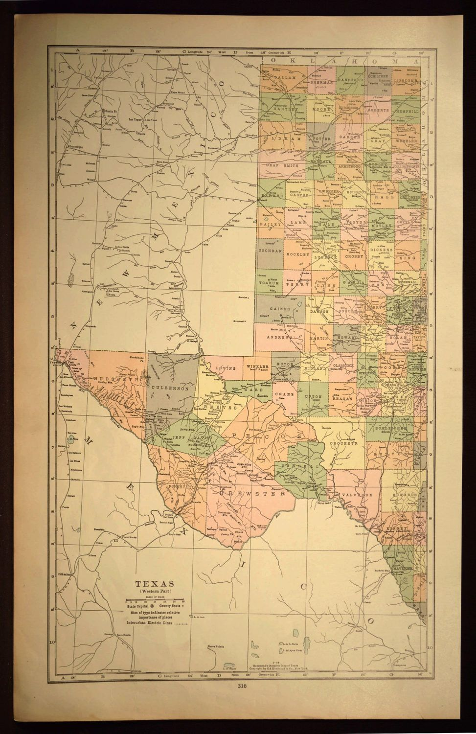 West Texas Map Texas LARGE Western Texas Map Wall Art Decor | Map ...