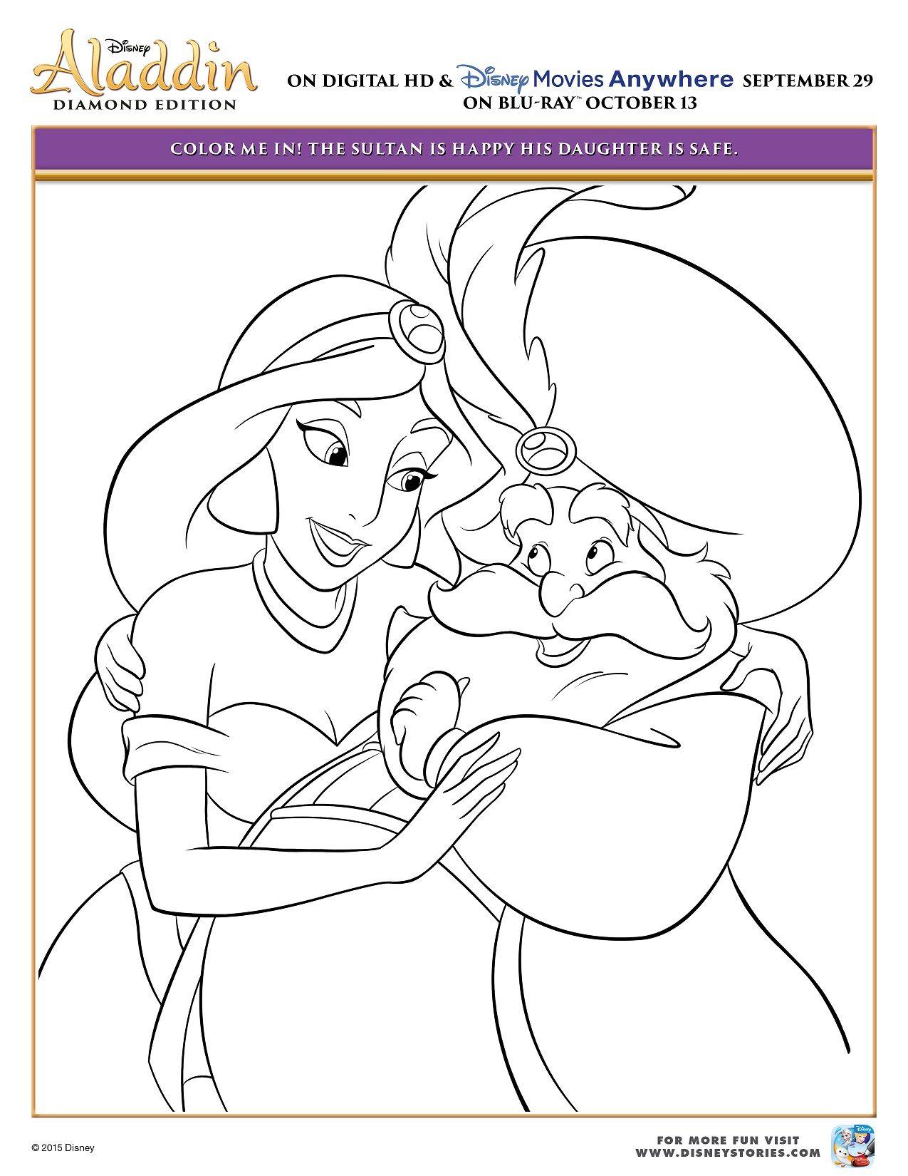 Disney\'s Aladdin & Princess Jasmine Printable Coloring Pages ...