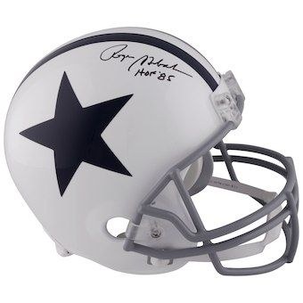 350ac033359 Autographed Dallas Cowboys Roger Staubach Fanatics Authentic Throwback  White Riddell Replica Helmet with