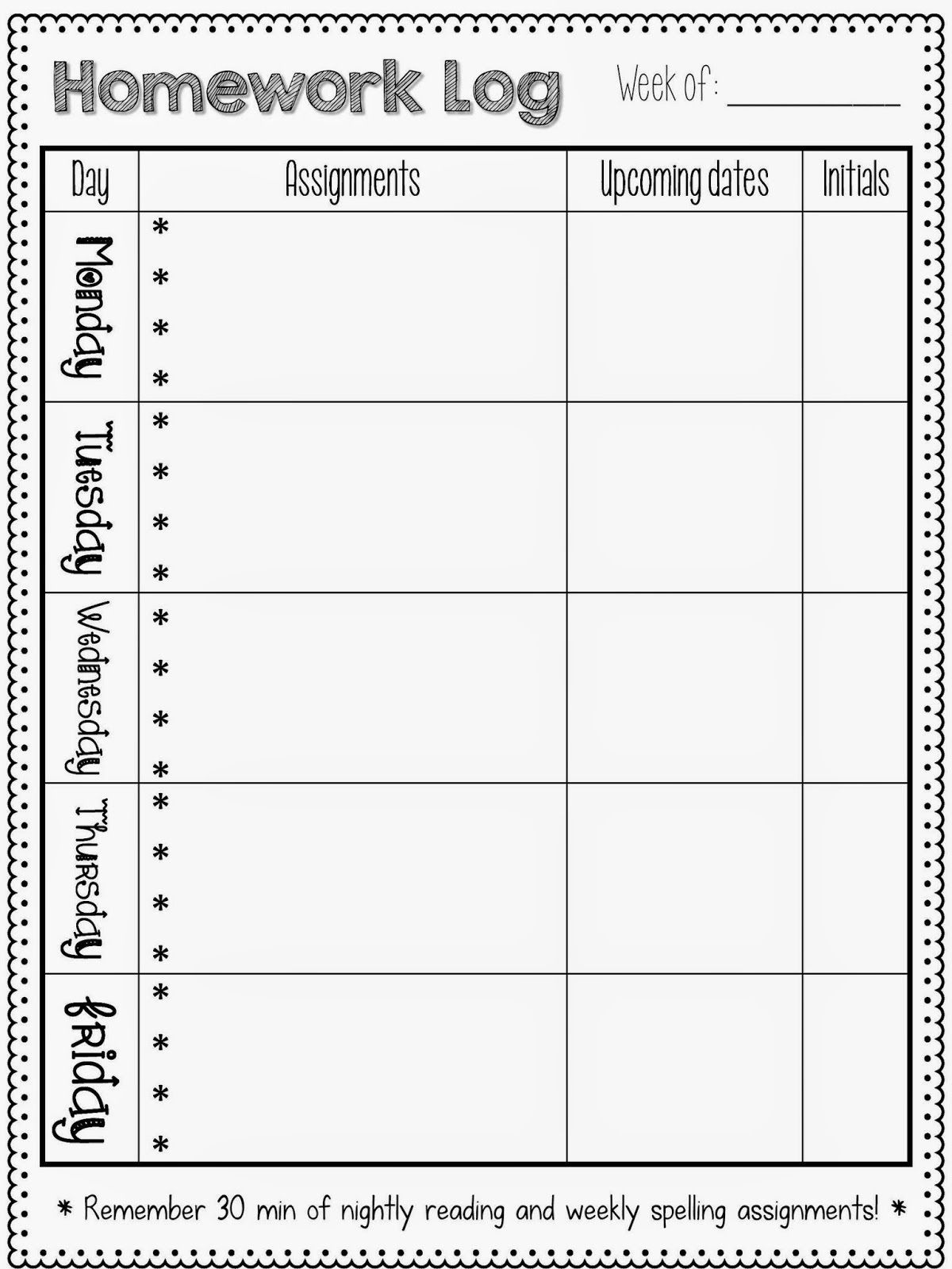 Printable Homework Sheets | Homework sheet, Homework log ...