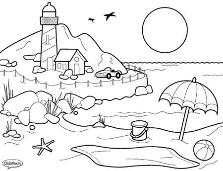 at the beach coloring pages for kids