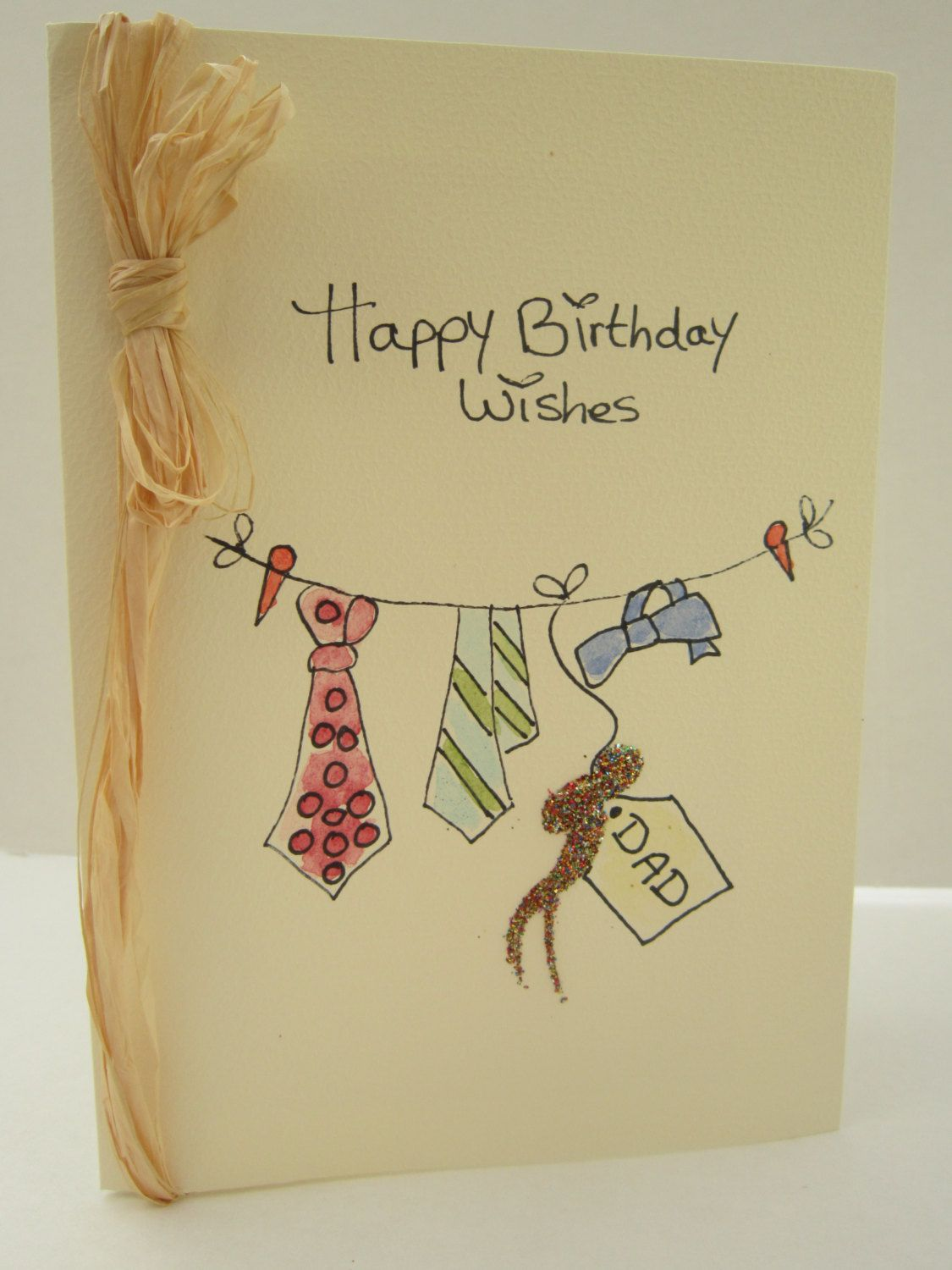 Dad Birthday Card Watercolour Original With Raffia Blank Can Be Personalised Also For Uncle Grandad Boyfriend Friend By AngelAtMyEasel On
