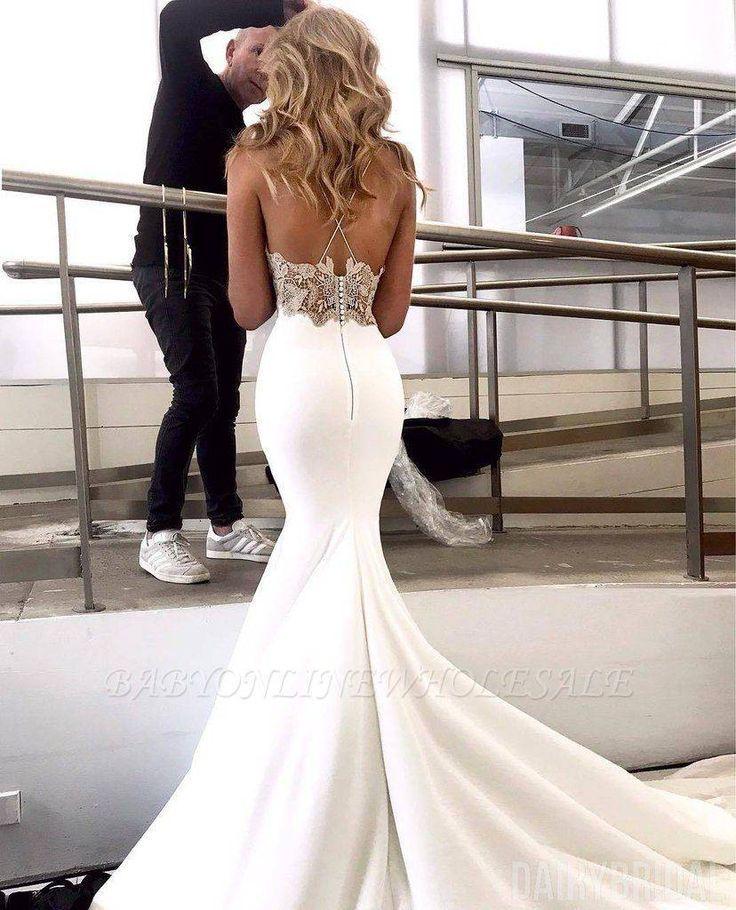 Elegante Spaghetti Trager Ruckenfrei Applikationen Meerjungfrau Brautkleid Kleider Hochzeit Braut Brautmode