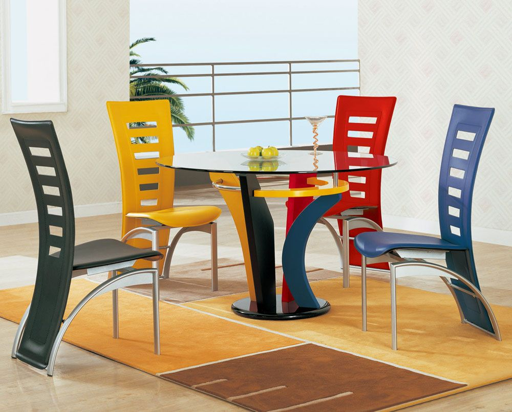 Modern Multi Color Dining Set  Redesign & Rethinking  Ideas Simple Funky Dining Room Table And Chairs Design Ideas