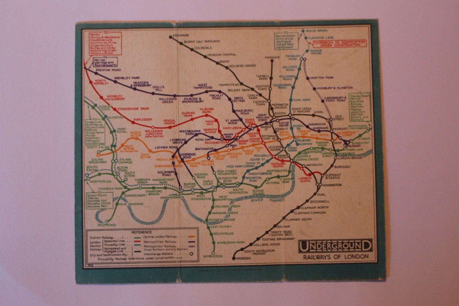 1931 Blue Large London underground pocket map