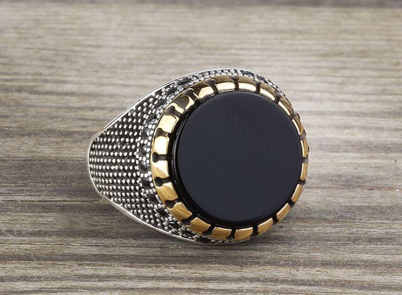 925 K Sterling Silver Man Ring Natural Black Onyx Gemstone 9.25 US Size #Handmade #Statement