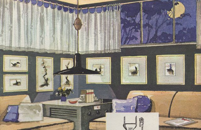"""Cafe curtains on clerestory windows from the Mid Century decorating book """"Window Decorating Made Easy by Kirsch"""","""