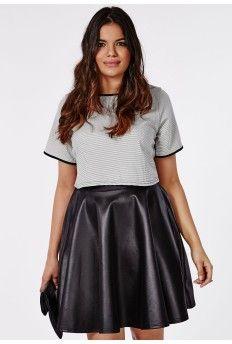 Plus Size Wet Look Skater Skirt