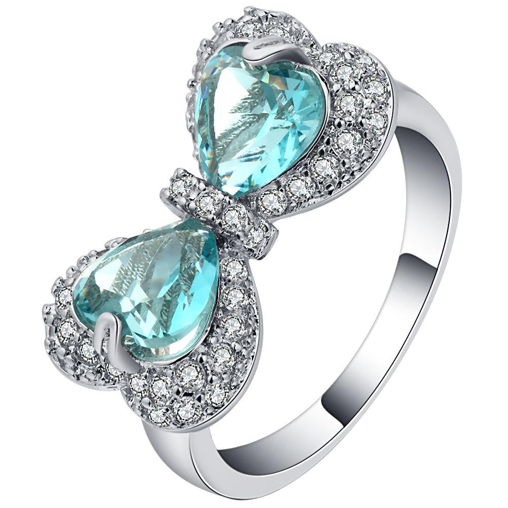 Elegant Sky Blue Zircon Heart Bowknot Rings Female White Gold Filled
