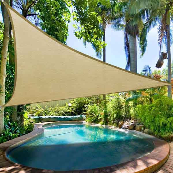 outdoor shade idea 115u0027 triangle outdoor sun sail shade patio desert sand