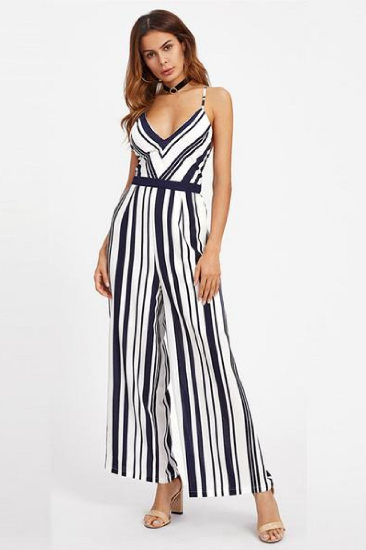 2620a99a47ba Fit Type: Regular Length: Full Length Material: Polyester Pattern Type:  Striped Fabric Type: Broadcloth Type: Jumpsuits Style: Casual Fabric:  Fabric has no ...