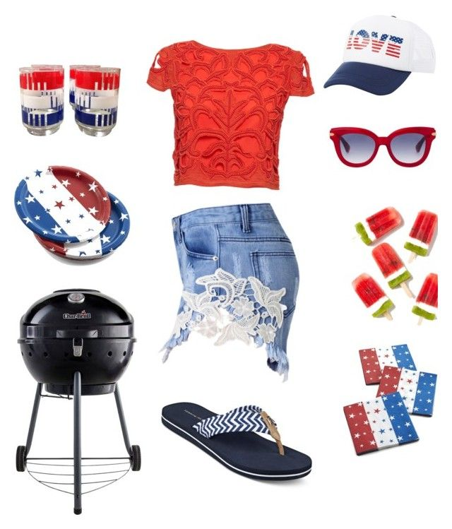 """""""Bbq Time"""" by mel-c-n ❤ liked on Polyvore featuring Crate and Barrel, Char-Broil, Alice + Olivia, Tommy Hilfiger, Charlotte Russe, redwhiteandblue, Alice, july4th and polyvorecontest"""