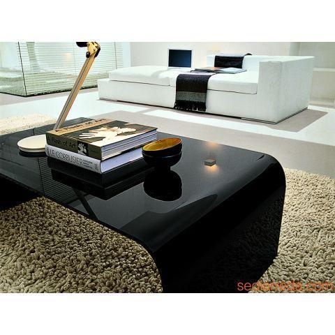 Anemone 6850 - Table Basse Rectangulaire En Verre Noir | Idées