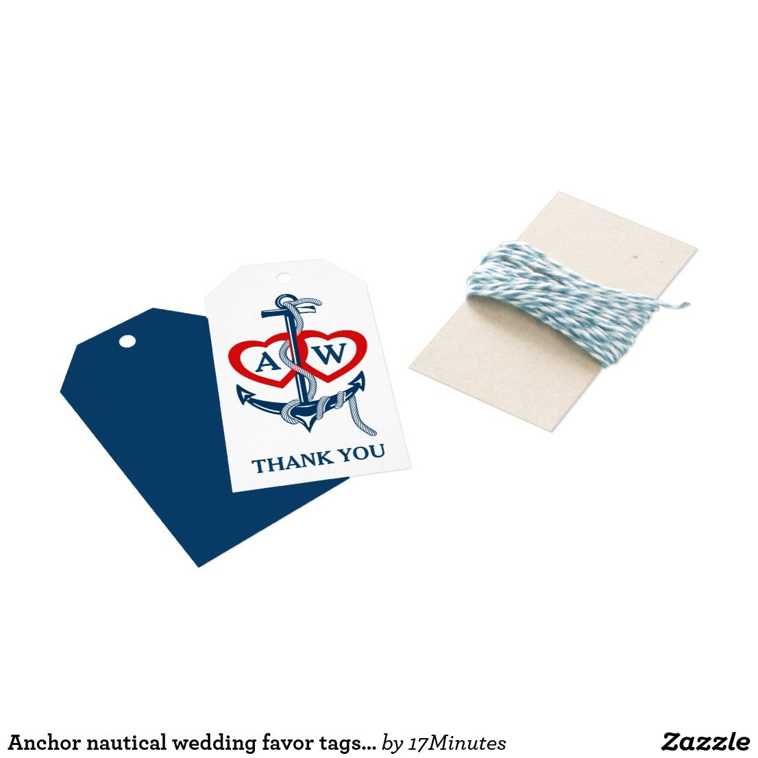 Anchor nautical wedding favor tags Monogram hearts   Wedding ...