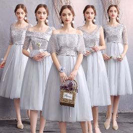 Affordable Grey Bridesmaid Dresses 2019 A-Line / Princess Appliques Lace Sash Short Ruffle Backless Wedding Party Dresses -   10 dress Brokat pendek ideas