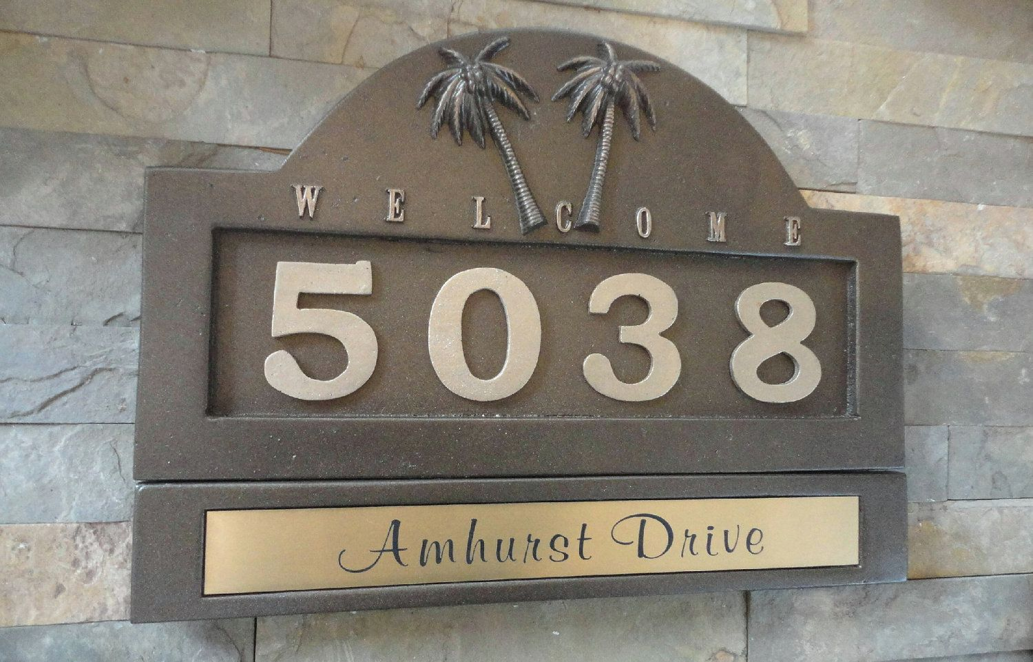 Tropical Palm Trees HOUSE NUMBERS / Address Plaque & Name