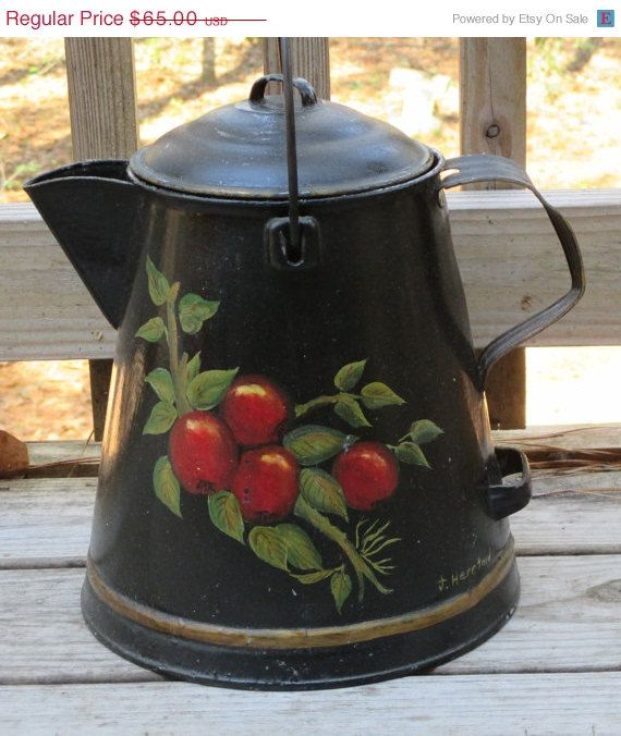 May Sale Toleware Coffee Pot Vintage Large Heavy By Hobbithouse Apple Painting Vintage Coffee Pot Toleware