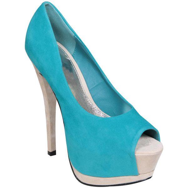 Colour Block Peeptoe Platform Shoe ❤ liked on Polyvore