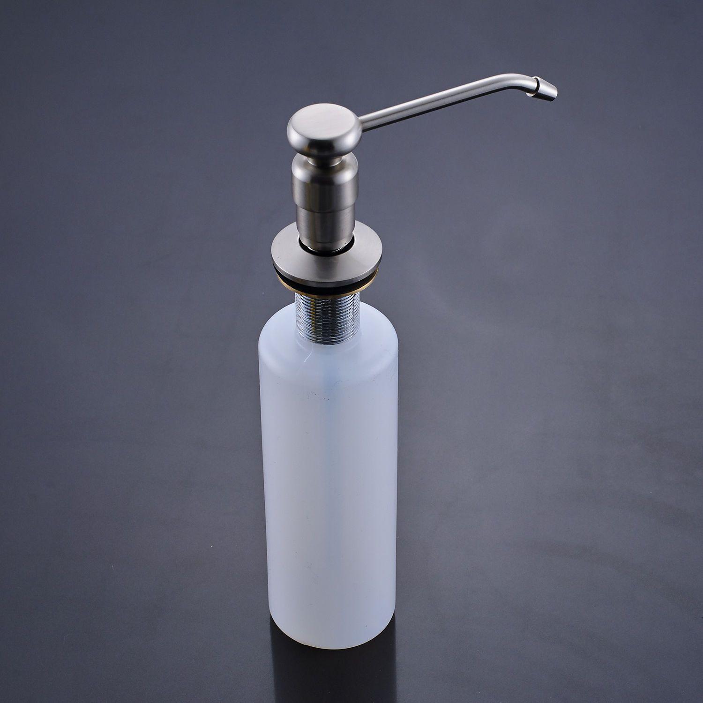 Poiqihy Brushed Nickel Kitchen Soap Dispenser 220ml Liquid Soap