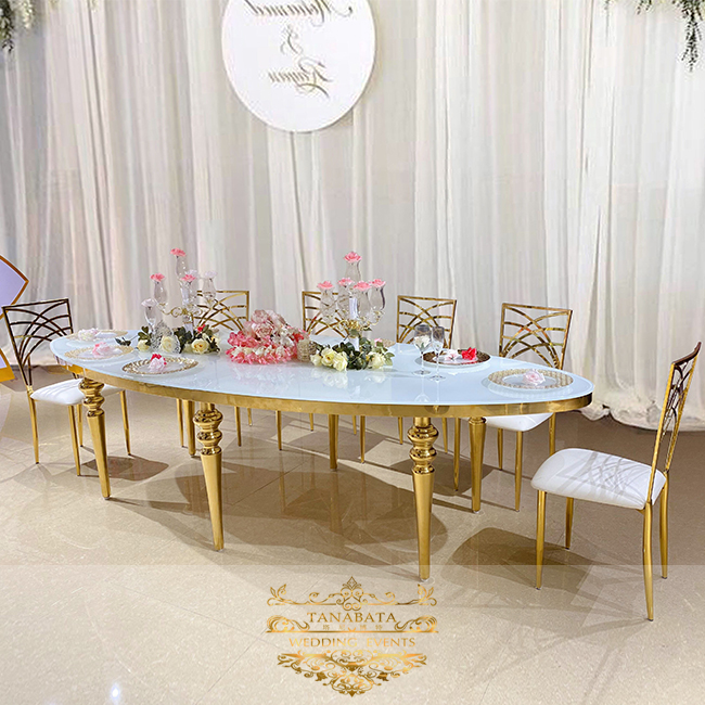 Oval Shape Gold Stainless Steel Leg Glass Top Dining Wedding Table