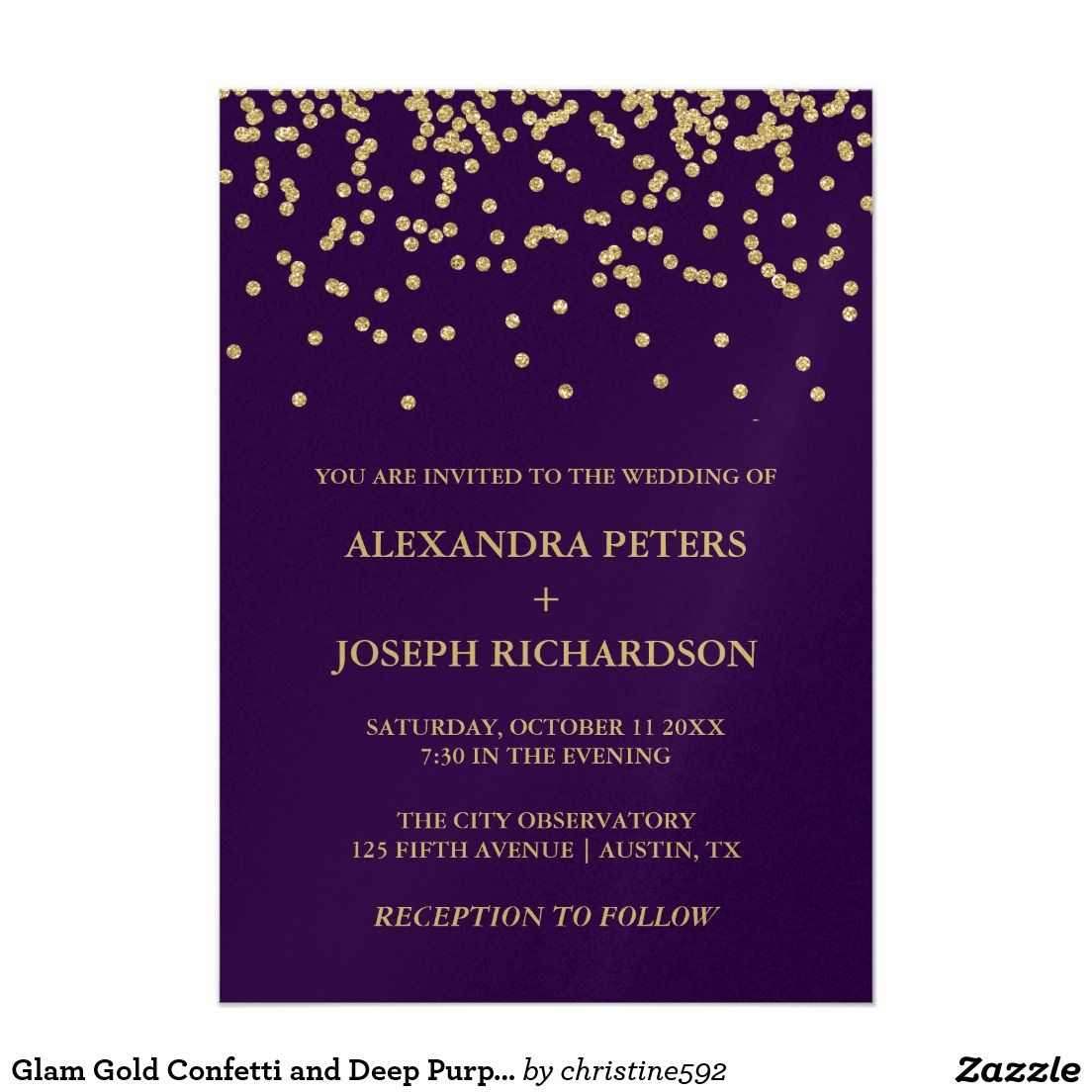 Gold color cardstock paper 5x7 - Glam Faux Gold Confetti And Deep Purple Wedding Card