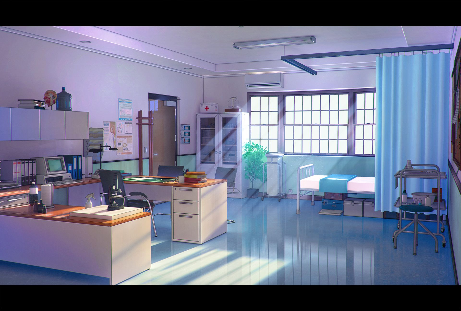 Artstation Infirmary Goliat Gashi Anime Scenery Anime
