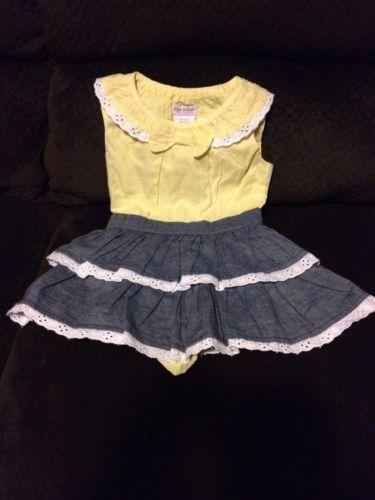 Piper And Posie Baby Girl 6 9 Months Yellow Summer Denim Putfit