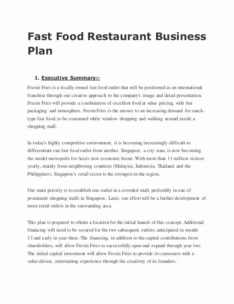 Business Plan For A Restaurant