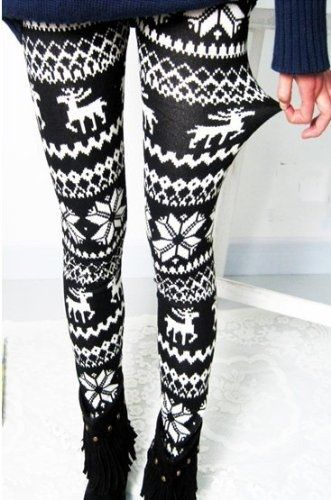 9f166db03fa68 Amour-Women Snowflake Christmas Pattern Ankle Length Legging One Size  Multicolored (Regular, Black