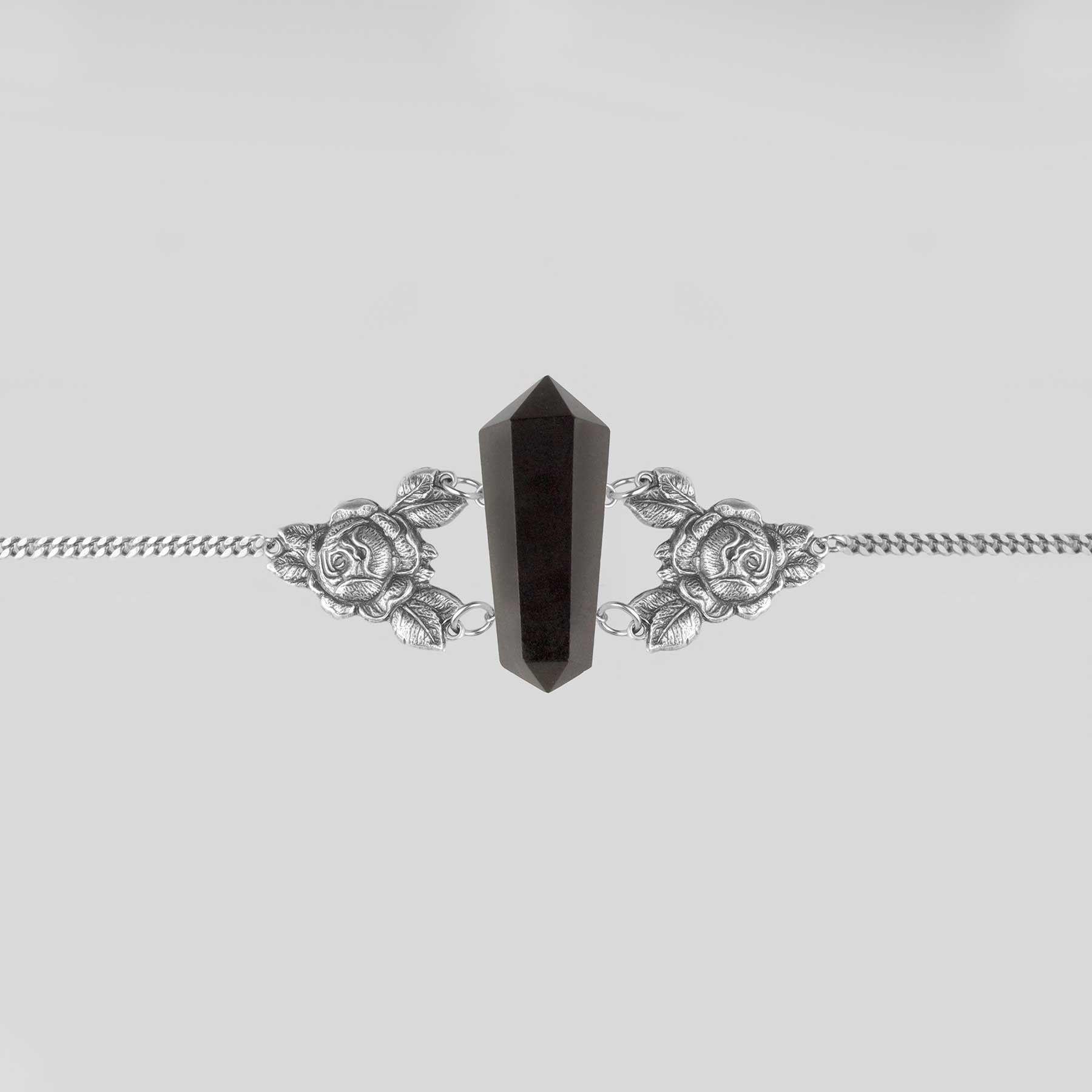 Necklace - AFTERLIFE. Black Agate Shard & Rose Choker