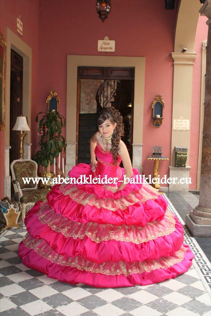 Pompöses Abendkleid Ballkleid in Pink  Ballkleid, Abendkleid, Kleider