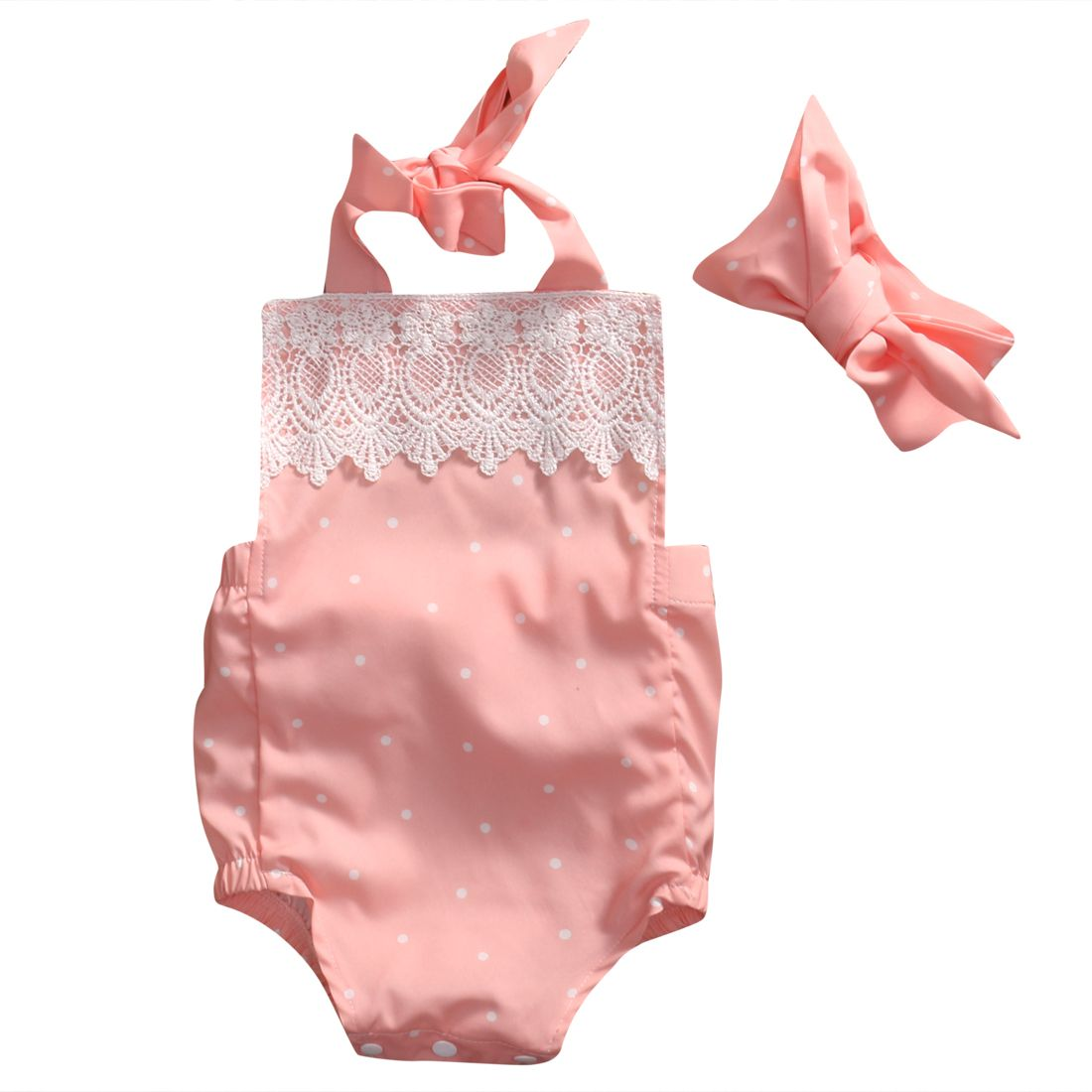 f4439ef88cd Click to Buy    Newborn Infant Baby Girl Clothes Lace Bodysuit Jumpsuit+