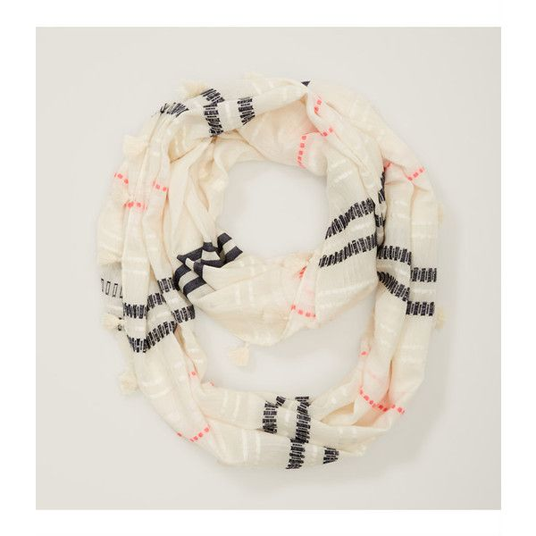 LOFT Striped Tassel Scarf ($30) ❤ liked on Polyvore featuring accessories, scarves, antique white, tassel scarves and striped scarves