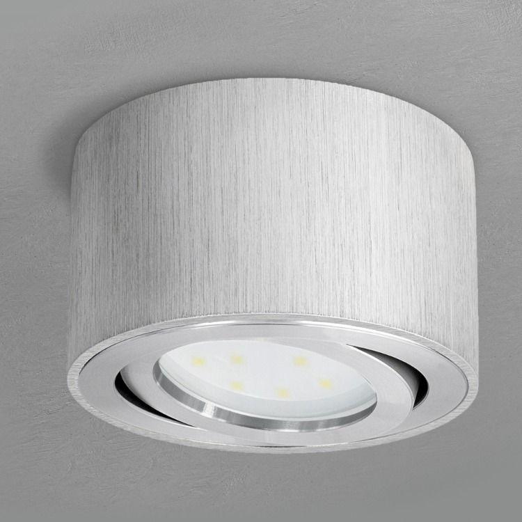 Celi 1a Flacher Decken Aufbauspot Silber Schwenkbar Inkl Led Modul 5w Warmweiss 230v Aufbauspots Led Einbaubeleuchtung