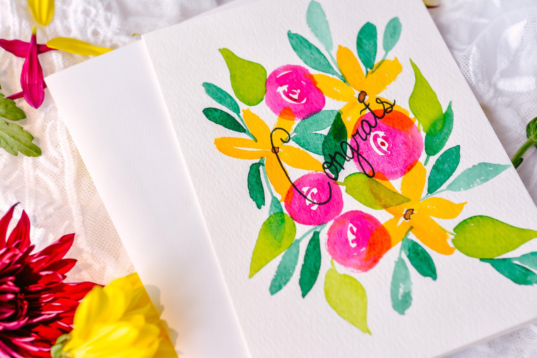 Original Handmade Watercolor Floral Burst Card Happy Birthday