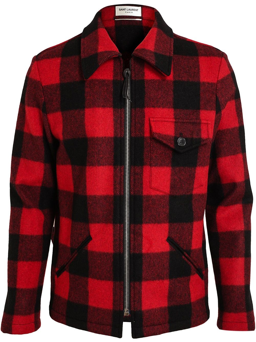 901381c29a2d Saint Laurent Tartan Wool Worker Jacket - Browns - Farfetch.com ...