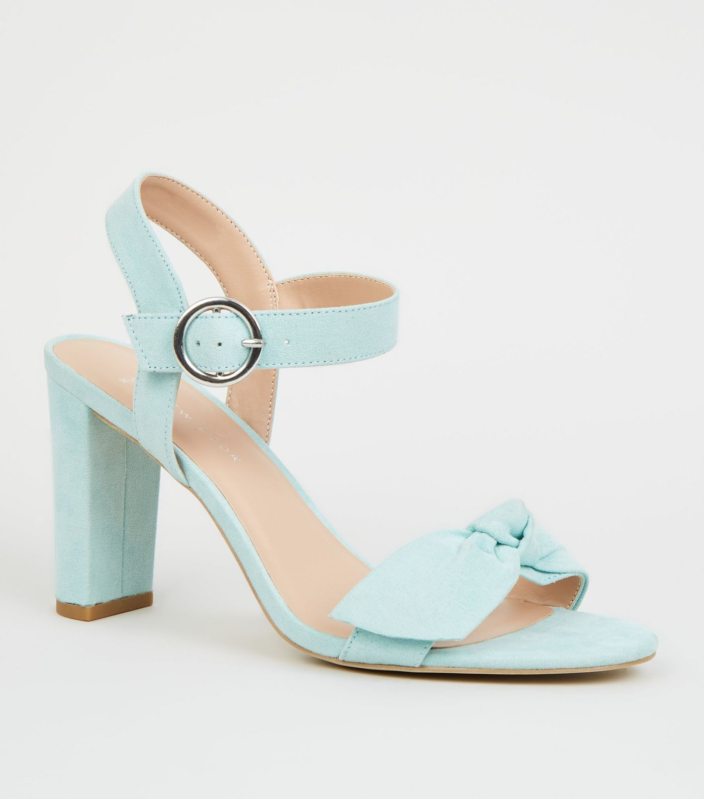20c54bc3ce8 Wide Fit Mint Green Bow Strap Block Heels in 2019