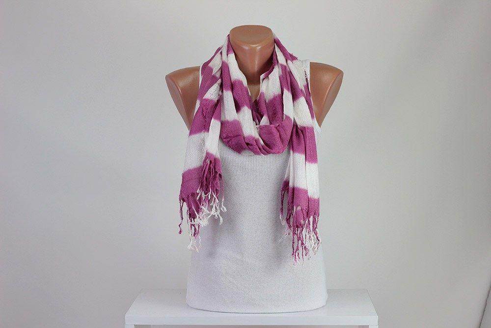 White & Pink Striped Scarf Tassel Scarf Tear Scarf Scarf Shawl Wrap