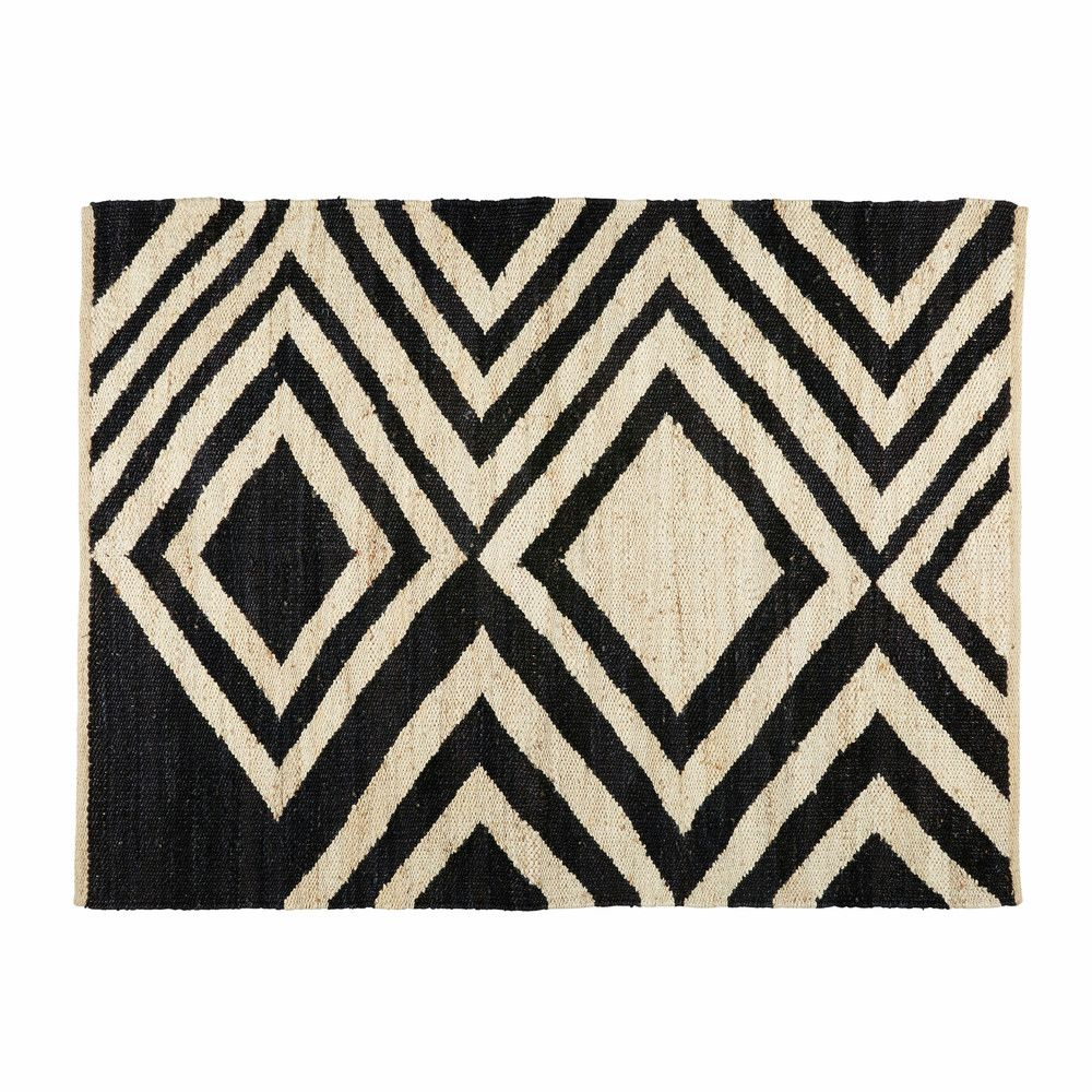 Blosia black and ecru jute ethnic rug 140 x 200 cm for Maison du monde