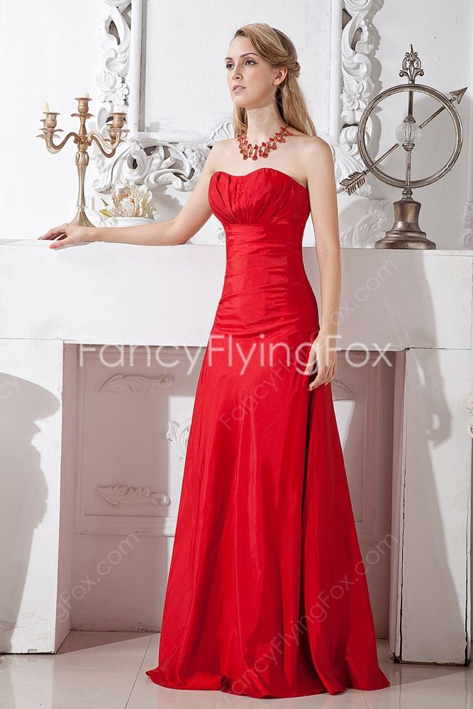 red sweetheart a line floor length