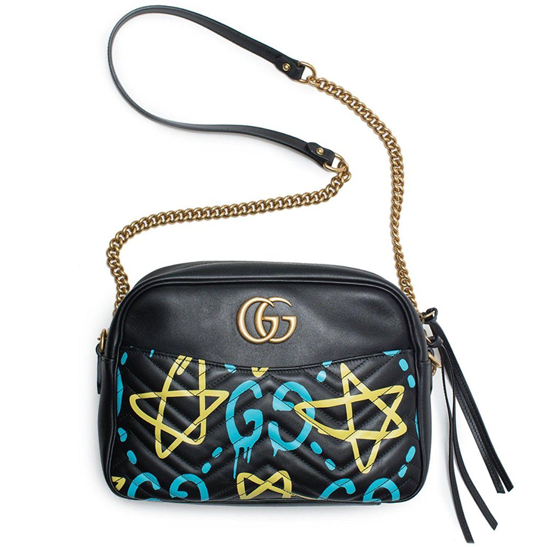 Amazon.com  Gucci Ghost GG Marmont Black Graffiti Leather Shoulder Bag  Handbag Italy New 1  Shoes df65d033f17b5