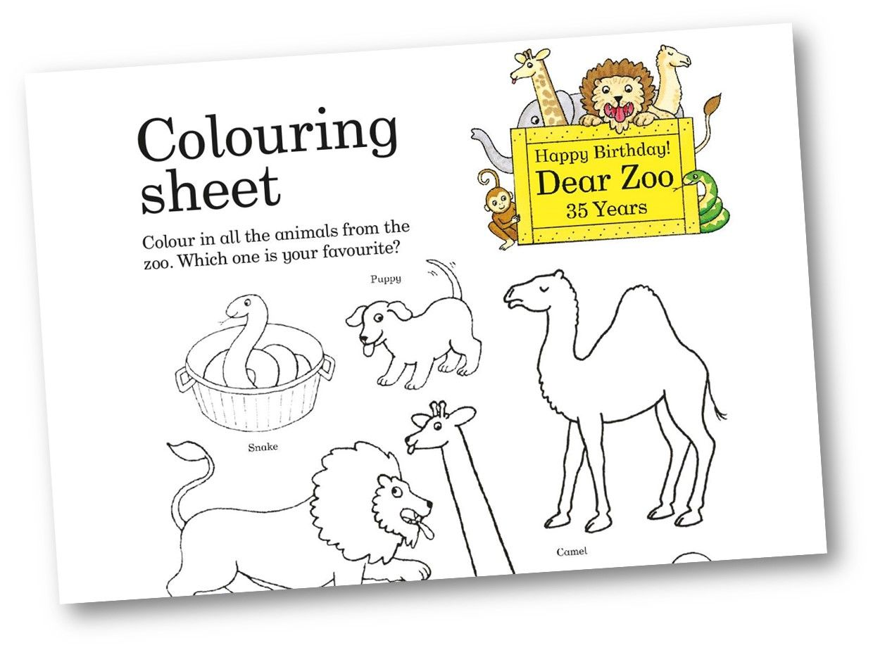 Dear Zoo Colouring Sheet Dear Zoo Pictures Of Zoo Animals Animal Coloring Books