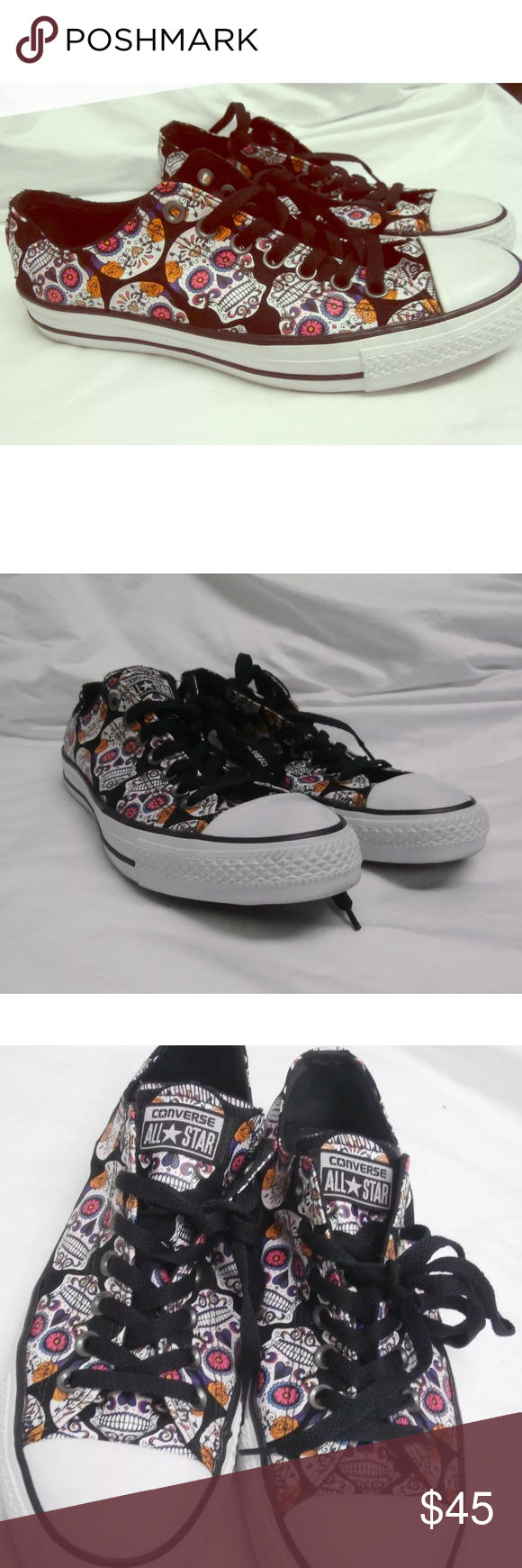 18cf508162c Converse sugar skulls day of the dead 💀 low tops CONVERSE Style 154893F  sugar skull print. Multi-color Day of the Dead skulls on a black background.