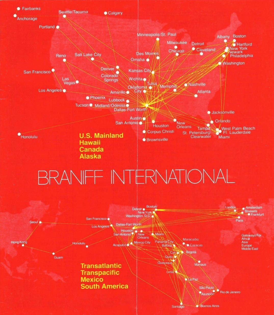 Braniff International Route map, Vintage airlines