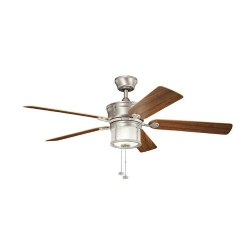 Kichler lighting kichler ceiling fan with light kit in brushed nickel finish 310105ni destination