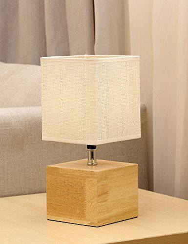 Natural Wood Base Table Lamp Hompen Desk Lamp With 5v 2a Table Lamp Lamp Fabric Shades Table lamp with switch on base